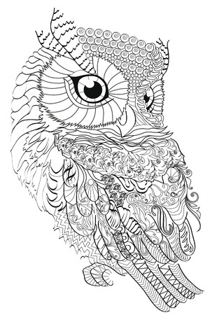 Color Therapy: An Anti-Stress Coloring Book, owl illustration.