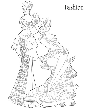 Color Therapy: Fashion. Anti-stress Coloring Book. A pair of girls in long dresses.