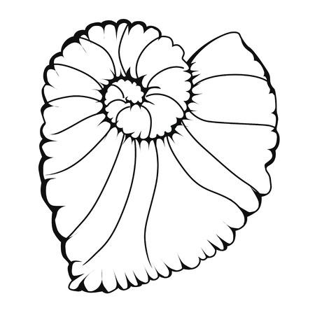 Begonia Escargo. Coloring book. Stock illustration. Isolated image on white background.