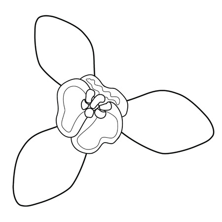 Snowdrop blossoms. Coloring book. Stock illustration. Isolated image on white background.