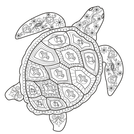 Color Therapy: An Anti-Stress Coloring Book Sea turtle.