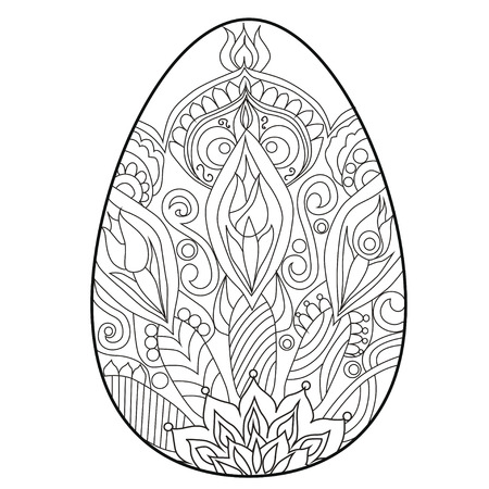 Coloring book anti stress .Egg. Easter. Color therapy.