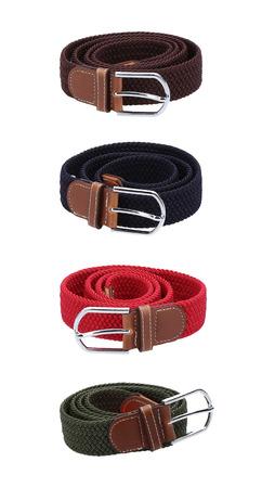 Four belts. Isolated image on white background. Stock Photo