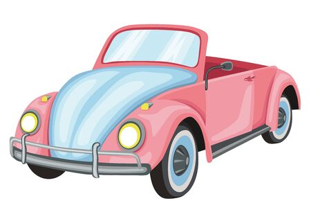 Wedding pink retrocar. Stock illustration. Isolated image on white background.