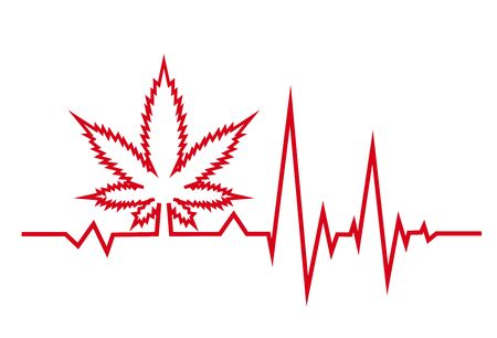 Red heartbeat with medical marjuana. White background.