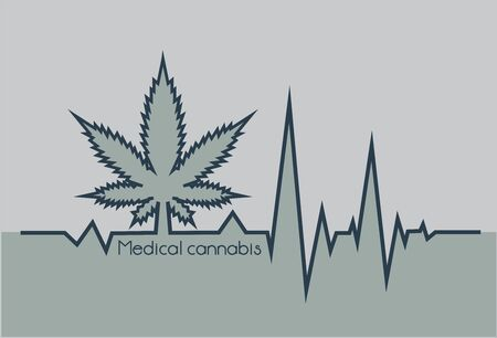 Gray heartbeat with medical marjuana. Card