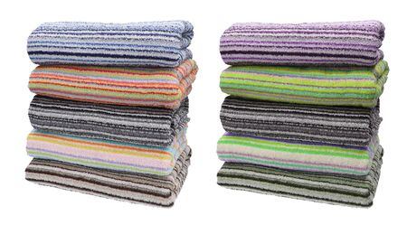 Set. Five rolled terry towels. Striped towels. Different colors. Isolated image on white background. Front view