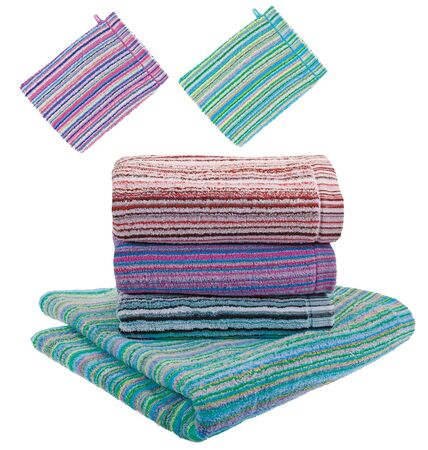 Set. Stack of terry towels and Three rolled terry towels. Striped towels. Different colors. Isolated image on white background. Front view