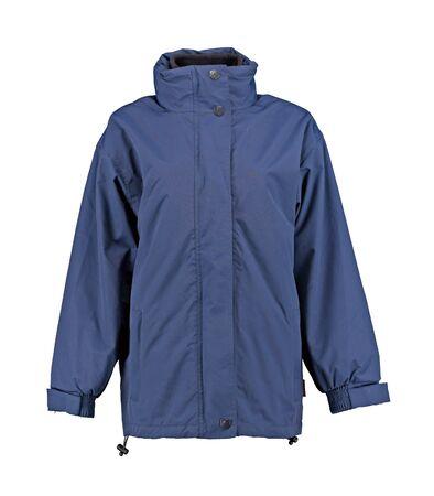Womans jacket. Blue raincoat. Isolated image on a white background.