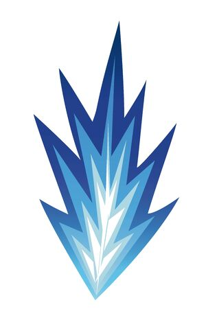 Icons of ice blue fire. Isolated image on a white background.