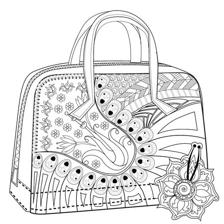 Malbuch für Erwachsene. Stressabbauend. Tasche mit Knöpfen und Blumen.