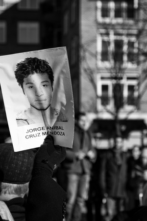 Princeton, NJ, USA, January 16, 2015: Demonstration of solidarity with the 46 students missing in Ayotzinapa, Mexico.