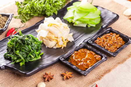 chinese spinach: A cold dish. Stock Photo