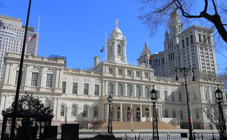 Left Front View of City Hall, New York