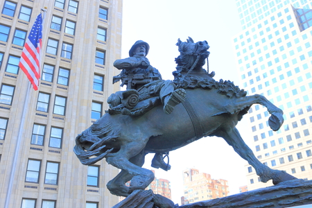 A Cowboy Statue in Downtown, New York