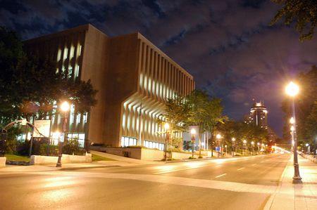 evocative: Night view of Quebec city.  Modern building.