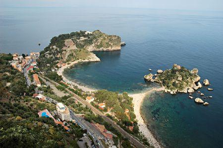 bella: Top view of the bay of Isola Bella, Sicilian coast, Toarmina