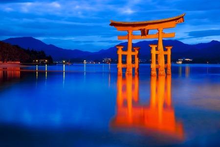Japan -  Itsukushima Shrine at blue hour