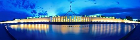 Panorama van het Parlement Canberra Australië Stockfoto