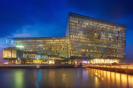 Harpa Reykjavik Iceland Concert Hall 스톡 콘텐츠