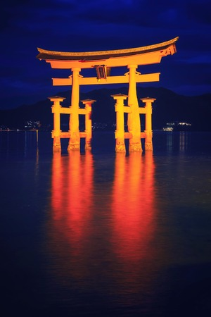 blue hour: Japan -  Itsukushima Shrine at blue hour