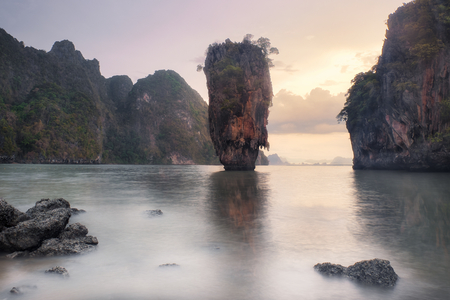 james bond: Thailand James Bond Island at Sunset Stock Photo