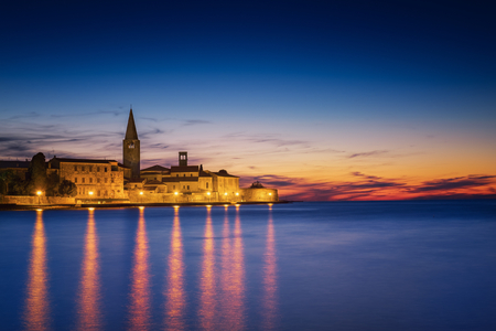 croatia: View from Porec at Sunset Stock Photo