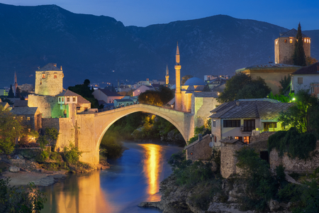 mostar: Mostar and blue hour