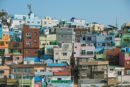 Gamcheon Culture Village and the blue sky of korea
