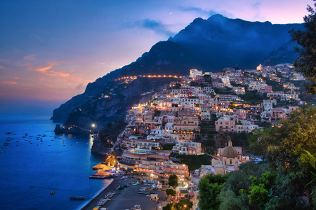 Landscape of Positano at the sunset