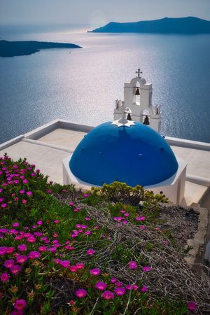 Photo of the three Bells of Fira on Santorini Reklamní fotografie