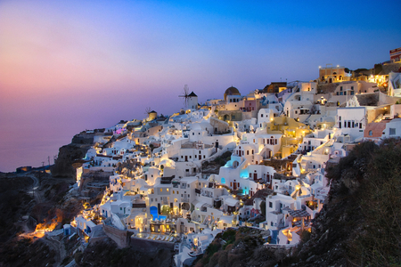 Photo of the view of the Oia castle at the sunset time Stockfoto