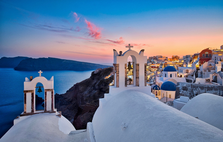 Photo of the sunset time in Santorini Greece