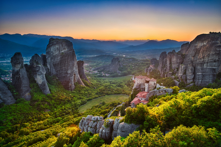 Photo of the panoramic view of meteora at the sunset time