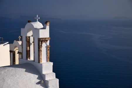 Photo of the church in Santorini Grecce with the blue water