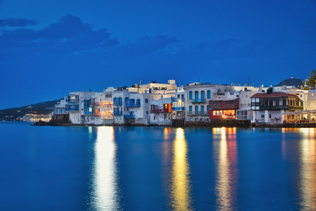 Photo of the Little Venice in Mykonos at the blue hour time