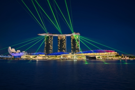 Photo of the laser show at Singapores Marine Bay