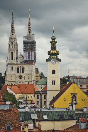 Photo of the view of the church of Zagreb Croatia Redactioneel