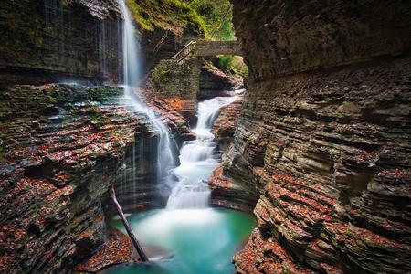 Long exposure photo of the waterfalls at the Watkins Glen National Park