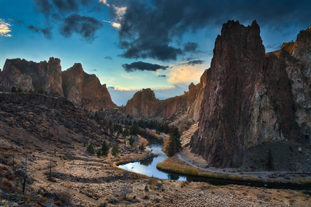 Photo of the panoramic view of the Smith Rock State Park at the sunset time