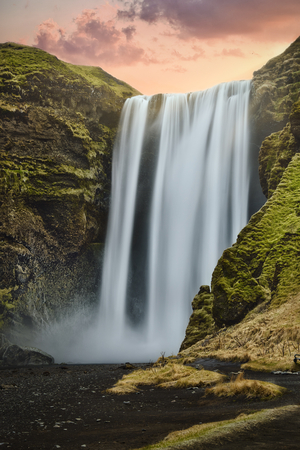 Photo of the Skogafoss at the sunset time in iceland