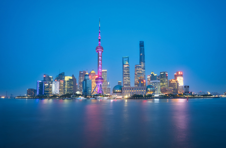 Photo of the panoramic view of Shanghai at the sunset time