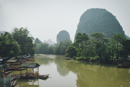 Photo of the Yulong River and the Karst Mountais at the background