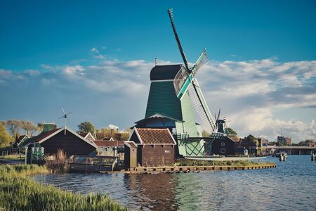 Photo of the Zaanse Schans at the sunset time