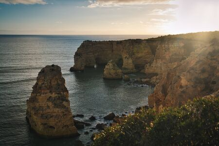 Photo of the Algrave region in Portugal at the sunset time 스톡 콘텐츠