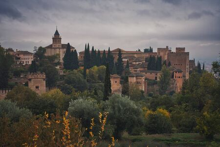 Panorama photo of the Alhambra in a rainy day