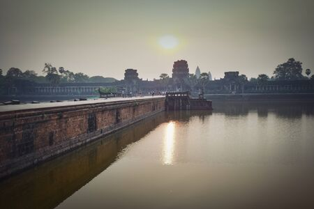 Photo of the temple Angkor War at the sunrise time 스톡 콘텐츠
