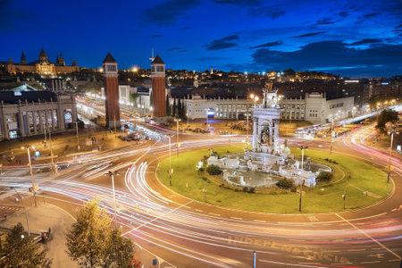 Long exposure of the plaza Espanha barcelona at night