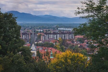 Photo of the top view of Ljubljana and the clouds