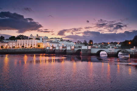 Photo of the Tavira town in Portugal at the sunset time